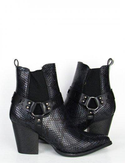 Γυναικεία μαύρα Cowboy μποτάκια με Snake Print F3190