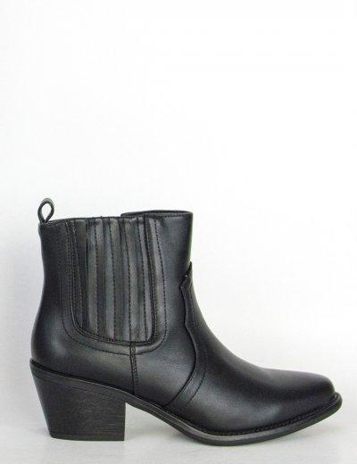 Γυναικεία μαύρα Cowboy μποτάκια αστραγάλου CH19157