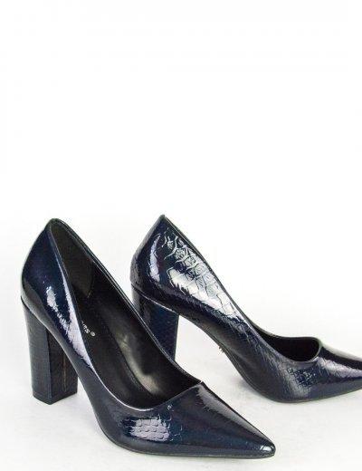 Γυναικείες blue black ιριδίζουσες γόβες με χοντρό τακούνι D1240L