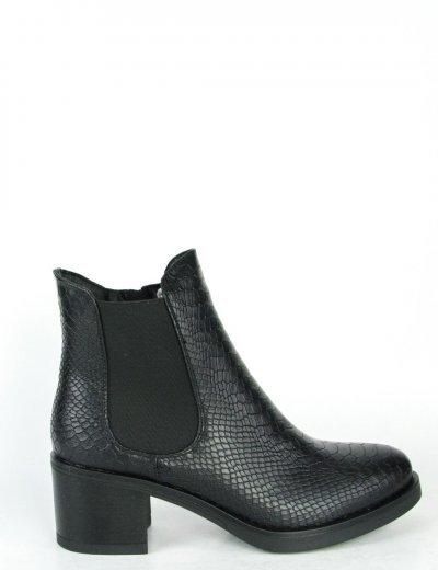 Γυναικεία μαύρα μποτάκια Snake Print χοντρό τακούνι WY3318
