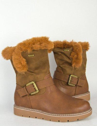 Γυναικεία κάμελ μποτάκια με γούνινη επένδυση SA9983
