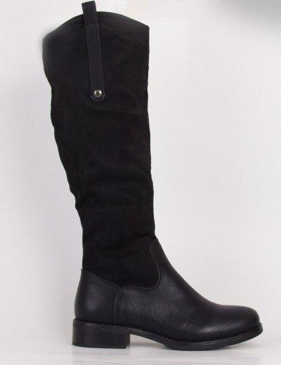 Γυναικείες μαύρες σουέντ δερματίνη μπότες ιππασίας F167