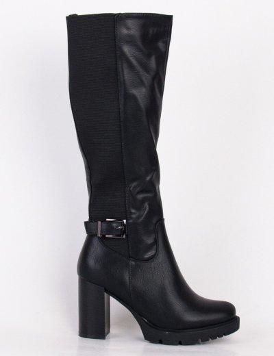 Γυναικείες μαύρες μπότες με λάστιχο και χοντρό τακούνι HXH061R