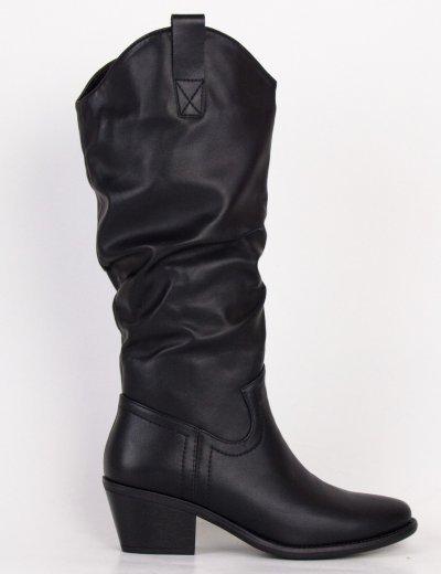 Γυναικείες μαύρες Cowboy μπότες δερματίνη με επένδυση CH19102L