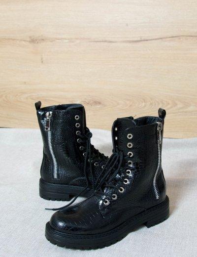 Γυναικεία μαύρα κροκό αρβυλάκια 621110D