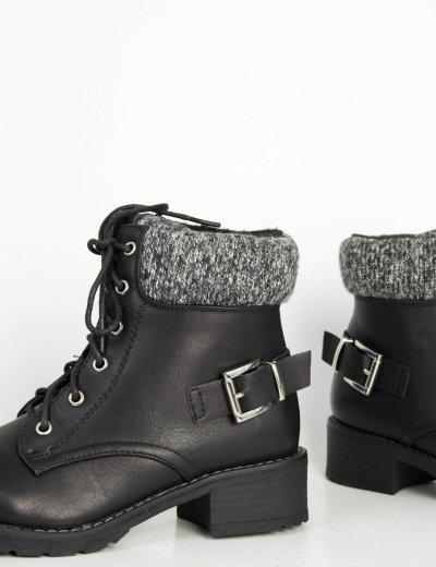 Γυναικεία μαύρα αρβυλάκια με μάλλινη επένδυση F2888