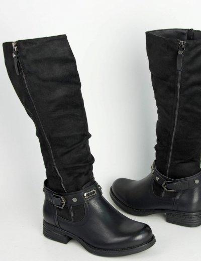 Γυναικείες μαύρες καστόρινες μπότες ιππασίας φερμουάρ A53