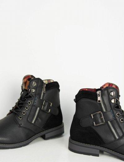 Ανδρικά μαύρα αρβυλάκια Biker με κορδόνια EL0611