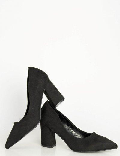 Γυναικείες μαύρες μυτερές γόβες χοντρό τακούνι 03022