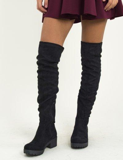 Γυναικείες μαύρες σουέντ μπότες Over The Knee τρακτερωτές E4870