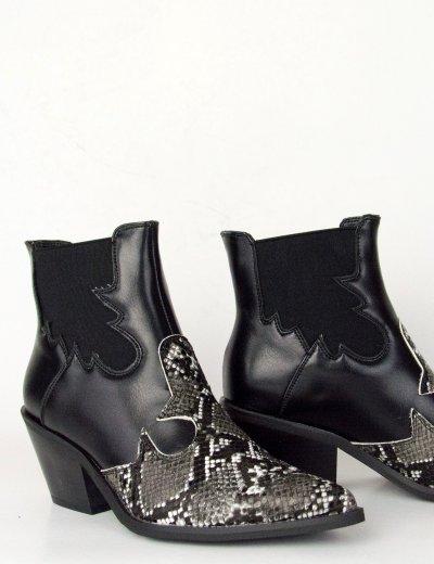 Γυναικεία ασπρόμαυρα Cowboy μποτάκια αστραγάλου λάστιχο B8991