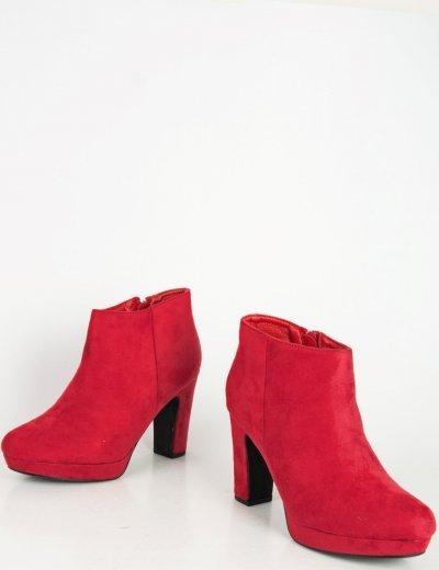 Γυναικεία κόκκινα σουέντ μποτάκια αστραγάλου φιάπα YL75