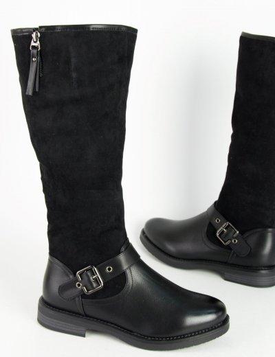 Γυναικείες μαύρες μπότες ιππασίας δερματίνη σουέντ 900110 b0f254389e1