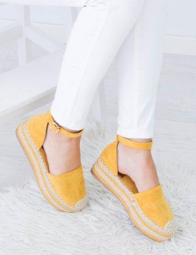 Γυναικείες κίτρινες εσπαντρίγιες με πλατφόρμα λουράκι JS551D
