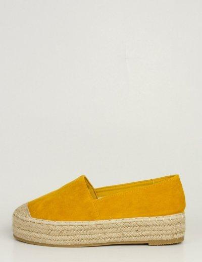 Γυναικείες κίτρινες σουέντ εσπαντρίγιες με ψάθα MB64123Y