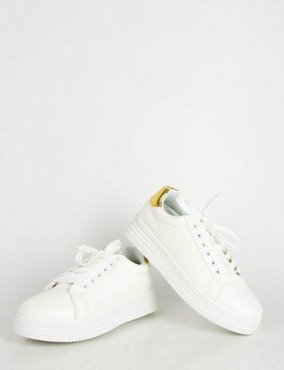 Γυναικεία λευκά χρυσό μονόχρωμα Sneakers κορδόνια LBS6516F