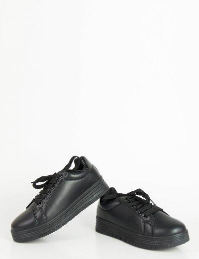 Γυναικεία μαύρα μονόχρωμα Sneakers κορδόνια LBS6516R
