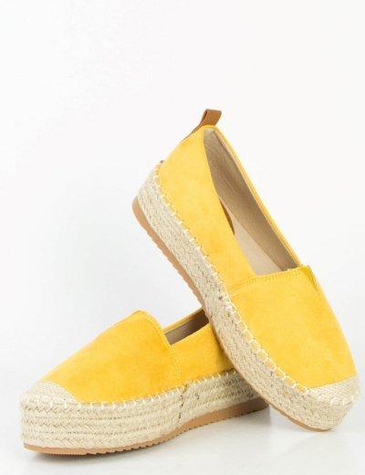 Γυναικείες κίτρινες εσπαντρίγιες μονόχρωμες ψάθα 3136R