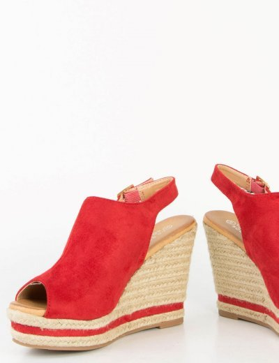 Γυναικείες κόκκινες Mules πλατφόρμες λουράκι σουέντ 0787L