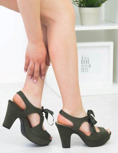 Γυναικεία χακί πέδιλα σατέν κορδέλα χοντρό τακούνι LBS2736G