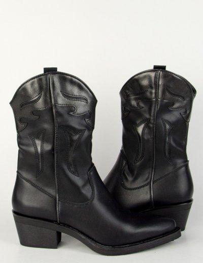 Γυναικεία μαύρα μυτερά Cowboy μποτάκια σχέδιο WZ911