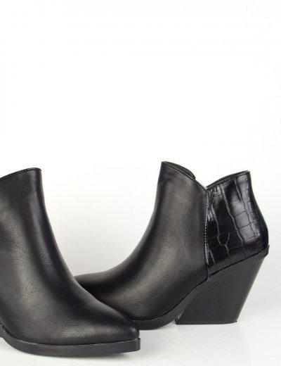 Γυναικεία μαύρα μυτερά Cowboy μποτάκια κροκό KA68