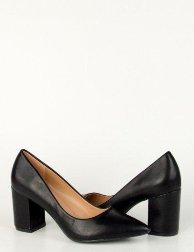 Γυναικείες μαύρες μυτερές γόβες χοντρό τακούνι VB93006