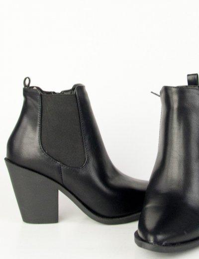 Γυναικεία μαύρα μυτερά Cowboy μποτάκια KA80
