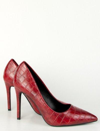Γυναικείες μπορντό μυτερές κροκό γόβες στιλέτο GE06G