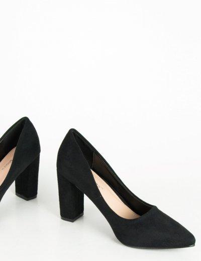 Γυναικείες μαύρες σουέντ γόβες χαμηλό χοντρό τακούνι P6386