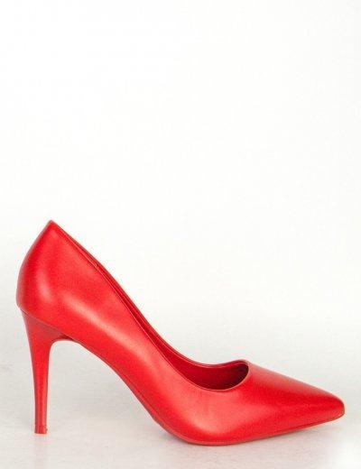 Γυναικείες κόκκινες μυτερές γόβες δερματίνη QL112L