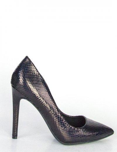 Γυναικείες μαύρες ιριδίζουσες γόβες μυτερές P6723L