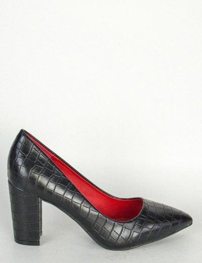 Γυναικείες μαύρες γόβες Snake Print χοντρό τακούνι BS261L