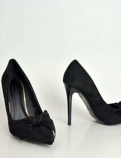Γυναικείες μυτερές γόβες μαύρες με φιόγκο PG353F