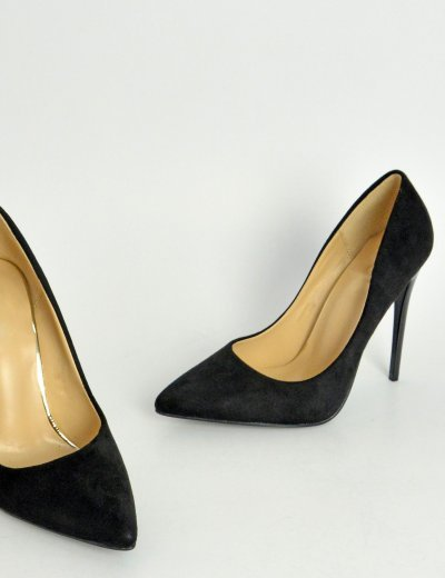 Γυναικείες μαύρες μυτερές γόβες στιλέτο σουέντ B10C