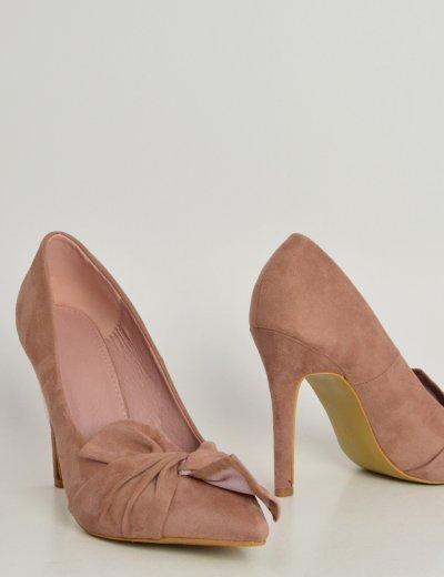 Γυναικείες σουέντ μυτερές γόβές ροζ με φιόγκο 100826