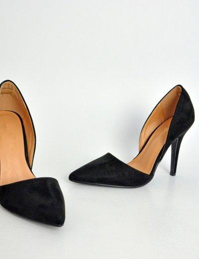 Γυναικείες σουέντ μυτερές γόβες μαύρες με άνοιγμα LBS2030C