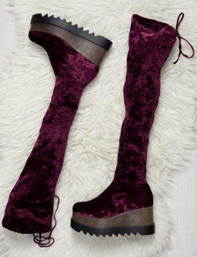 Μπορντώ Platform Velvet μπότα A0270R