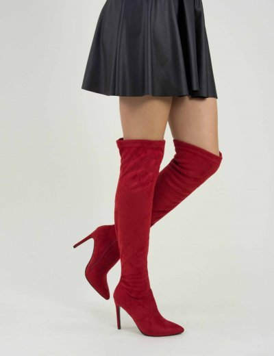 Γυναικείες κόκκινες μυτερές μπότες OverKnee λεπτό τακούνι SU2847G