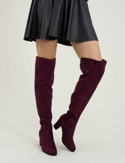 Γυναικείες μπορντό μπότες Over The Knee χοντρό τακούνι E5117