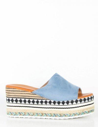 Γυναικείες μπλε Flatform παντόφλες σουέντ ζακάρ Q53L