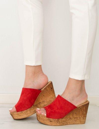 Γυναικεία κόκκινα Flatform Mules σουέντ JN3305