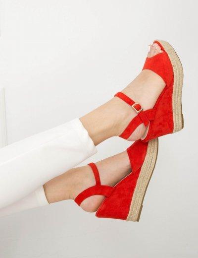 Γυναικείες κόκκινες σουέντ πλατφόρμες λουράκι ψάθινη 7066Q