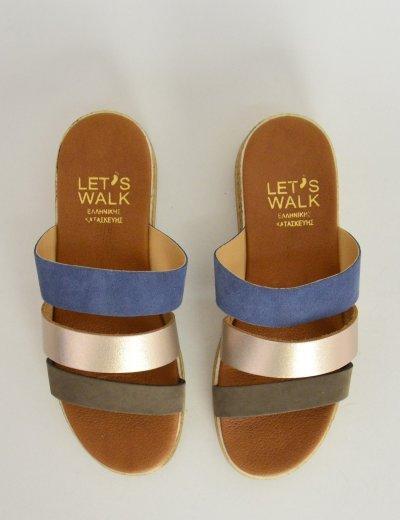 Γυναικείες Flatform παντόφλες χιαστί μπλε λουριά 301118C