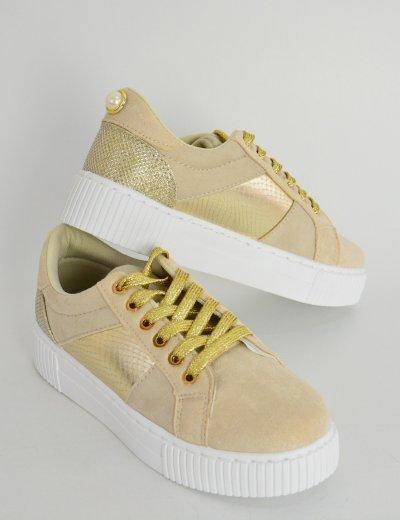 Γυναικεία Sneakers στρας ιριδίζον μπεζ με λευκή σόλα 89463C