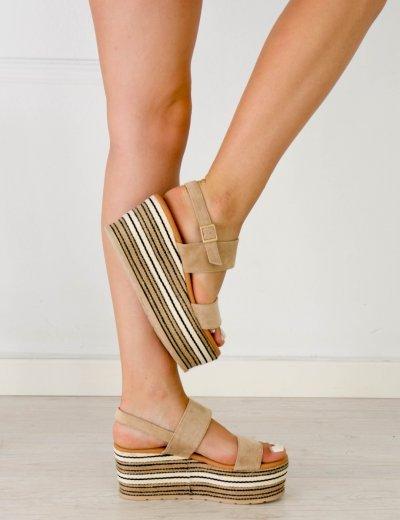 Γυναικεία μπεζ σουέντ Flatform σανδάλια λουράκια JN9929