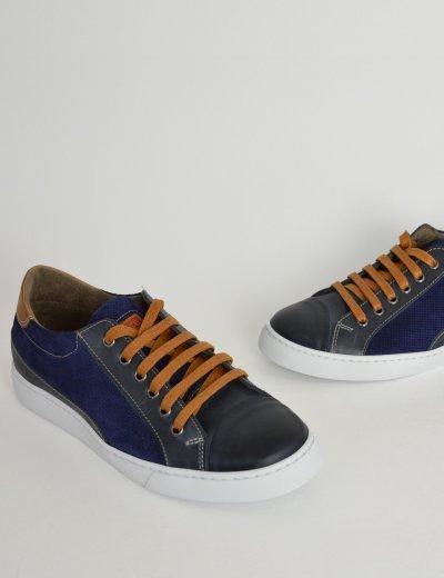 Ανδρικά δερμάτινα Sneakers Nice Step μπλε με κορδόνια 775