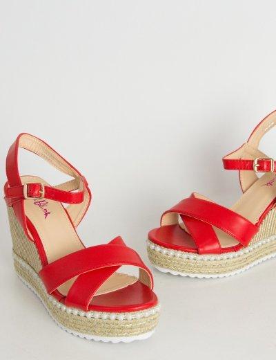 Γυναικείες κόκκινες πλατφόρμες δερματίνη πέρλες VB8666