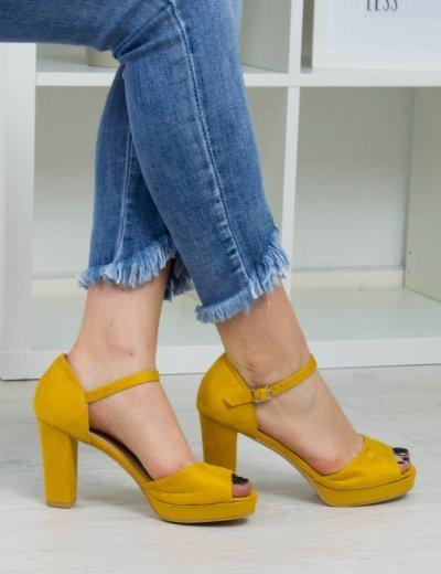 Γυναικεία κίτρινα σουέντ πέδιλα χοντρό τακούνι 8116L