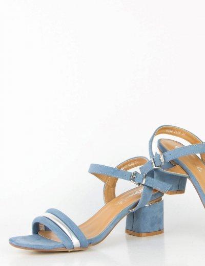 Γυναικεία μπλε πέδιλα σουέντ τριπλό λουράκι M538F